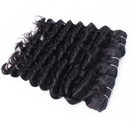 vietnamese remy human hair Promo Codes - 6 pcs Wholesale Deep Wave Curly Hair Weave Natural Brown 8A Unprocessed Brazilian Peruvian Cambodian Malaysian Raw Virgin Indian Human Hair
