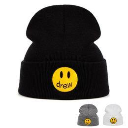 2019 cappelli di tacchino all'ingrosso drewhouse lavorato a maglia cappello del cotone casuale Beanie Uomo Donna Inverno solido di colore di Hip-hop casa Skullies cappello unisex DREW