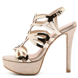 Canada Cocoafoal Femmes Or Ouvert Toe Talons Sandales Plus La Taille 33 43 Plate-forme Chaussures Sexy Argent Peep Toe Glitter Strass Sandales Offre