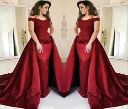 Vestidos de noche de sirena de color rojo oscuro 2019 con largo tren de encaje apliques Longitud del piso Vestidos de fiesta Vestido de fiesta Vestido de Novia desde fabricantes