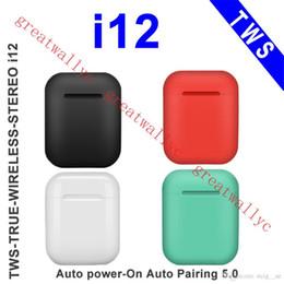 Auriculares coloridos da maçã on-line-i12 tws bluetooth 5.0 sem fio bluetooth fones de ouvido de apoio janela pop up binaural fones de ouvido de chamada de controle de toque colorido sem fio fones de ouvido