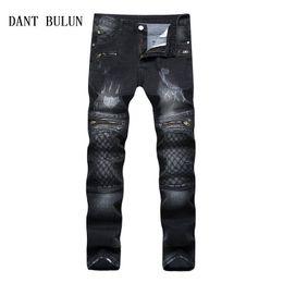 giappone nero metallo Sconti DANT BULUN Jeans uomo strappato biker slim skinny per uomo pantaloni denim casual Plus Size 42 Heavy Metal rock nero pantaloni, TS008 D18102402