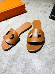 Argentina 2019 marca de lujo París Orán Slide Sandal Brown Nude Womans Slipper H Flats Cuero H Sandalias Mule AUTHENTIC Flip Flop Zapatos para mujer cheap nude slippers Suministro