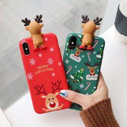 Capas protetoras bonitas do telefone on-line-2019 caso de telefone de natal bonito papai noel animal árvore tpu capa protetora presente à prova de choque para ip x xs xr xs max saco de opp
