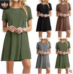 2019 corti di spandex d'epoca Casual Summer Army Dress Allentato casuale 2017 Fashion Solid Colors Short Sleeve Vintage Women Dress Plus Size S-3XL vestidos de festa sconti corti di spandex d'epoca