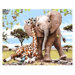 fantasie landschaft ölgemälde Rabatt Diy Animals Ölgemälde Malen nach Zahlen mit Acrylfarben Pinsel mit oder ohne Rahmen für Erwachsene Anfänger-Elefanten und Giraffen