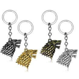 loup porte-clés Promotion Domilay Film Key Chain Game of Thrones Stark famille Badge Porte-clés Bijoux loup Porte-clés Porte-clés