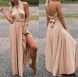gold ankle length bridesmaid dresses Promo Codes - 31 colors Women Wrap Convertible Boho Club Dress Bandage Long Dress Party Bridesmaids Multi-wear multi-rope cross backless sexy dress