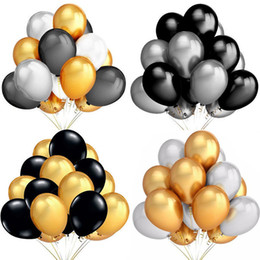 Figura del lattice online-Palloncini in lattice d'argento a 12 pollici in lattice d'oro Figure d'aria Giorno di Halloween Palloncini buon compleanno Decorazioni rotonde Ballons 12PCS / Set