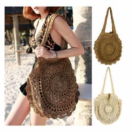 2019 bolsa em forma de palha Mulheres Moda Praia Tecido Bag Lady Flor Em Forma de Oco Saco De Palha Bolsa de Ombro 2 cores RRA1587 desconto bolsa em forma de palha