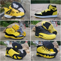 2019 nuovo arrivo jumpman bumblebee giallo nero uomo scarpe da basket 1s 11s 12 s 9 s 14 s 4 s lightning sport designer cestini sneakers taglia 13 da