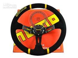 Toptan Satış - Yeni Varış: 350mm MOMO Derin Mısır Sürüklenen Direksiyon / Süet Deri cheap steering wheel momo nereden direksiyon momo tedarikçiler