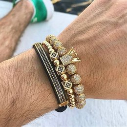 Zirconia cúbica brazalete conjuntos online-Mcllroy 3 unids / set Luxury Charm Gold / silver Crown Bracelets Para Mujeres Hombres Cúbicos Micro Pave Cz Pulsera Trenzado Brazalete Hombre Joyería C19041001