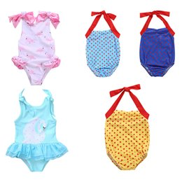 projeto do swimsuit dos miúdos Desconto Meninas Lace Sling Swimsuit Bebê Da Criança 5 Projeto Flamingo Swan Dot Swimwear Crianças Roupas De Grife Meninas Bow-Tie Backless Swimsuit 1-5T 06