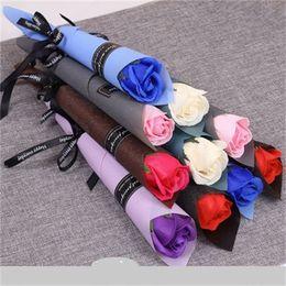 heiße rosa pfingstrose blume Rabatt Seifen-Blumen-Multi Color einziger Zweig künstliche Rose Hochzeit Valentinstag Aktivität Geschenk Marktförderungs Zubehör 0 95xl H1