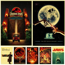 imprima adesivos claros Desconto Wall Paper Spielberg Filmes clássicos Retro Poster Limpar Image Adesivos Decoração Kraft Impresso quarto Decora