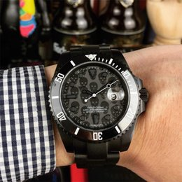 Cráneo reloj digital online-reloj de lujo para hombre relojes de diseño caja negra calavera movimiento mecánico automático barrido relojes de pulsera automáticos montre de luxe