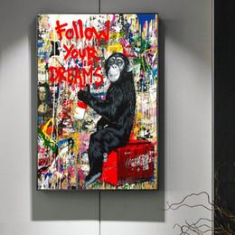 2019 handgemalte ölgemälde musik Folgen Sie Ihren Träumen Wall Street Graffiti-Kunst-Leinwand-Malerei-abstrakte Einstein-Pop-Art Leinwand für Kinderzimmer Cuadros Dekor
