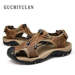 c419f555896 Big Size 46 47 48 mens sandals genuine leather sandals summer Men shoes  outdoor casual shoes Breathable men Beach discount green cross men sandals