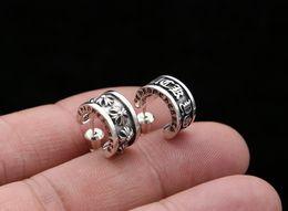 Thailändische ohrringe online-S925 Sterling Silber Schmuck Vintage Thai Silber Mode Kreuz Persönlichkeit Ring Ohrringe