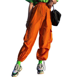 Pantalones cargo naranja online-Streetwear Naranja Pantalones de Mujer Pantalones de Carga Cintura Elástica Bolsillos de Cinta Ocasional Suelta Longitud Completa Pantalones Deportivos Pantalones