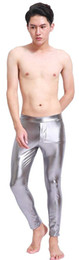 metallic pink leggings Coupons - Mens Metallic Wetlook Meggings Man Leggings Tights