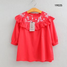 organic leaf Promo Codes - Cute Baby Kids Ruffles Neckline Leaves Embroidered Cotton Dress Summer Holiday Red Blue White Color Girls Blouse Dress