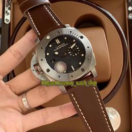 2019 relojes para zurdos F Factory PAM00569 1950 Zurdo 3 días Automático P9000 Titanio Black Lattice Dial Luminous Mens Watches 316L Caja de acero Correa de cuero rebajas relojes para zurdos