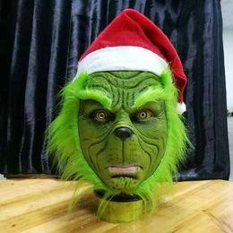 карнавальные перья оптом Скидка Смешной Гринч украл Рождество косплей партия Маска шляпа Рождество полная голова латексная маска с дальнейшим взрослый костюм Гринч Маска реквизит