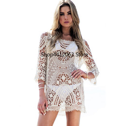 b0f3c5967fa7 jumpsuit dressing shirt Canada - New 2019 Women Sexy Bikini Swimwear Cover  Up Beach Dress Lace