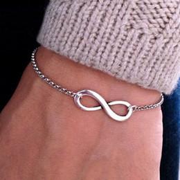 casais infinito pulseiras Desconto Pronto estoque moda personalizado casal infinito pulseira simples número 8 925 banhado a prata pulseira de cadeia para mulheres