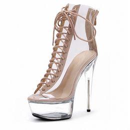 Сапоги с открытыми носками онлайн-US4-12 Women Clear Transparent Platform Open Toe Stilettos Super High Heel 15cm Shoes Crystal Pumps Ankle Boots Lace Up Plus Sz