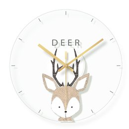 Animaux de verre modernes en Ligne-Bande Dessinée Cerf Décoratif Horloge Murale Design Moderne Muet Horloges En Verre De Quartz pour la Chambre Des Enfants Suspendus Horloge Murale Décor À La Maison