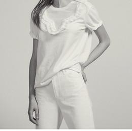 2019 Primavera Verano Color puro Mangas cortas Cuello redondo Algodón Detalle de volantes Volver Cordones camiseta Camiseta moda M3118 desde fabricantes