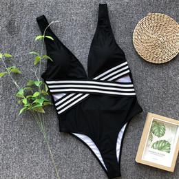 Costume da bagno bikini a maniche lunghe design a costine da bagno bikini a righe 2019 Bikini a maniche corte e sexy da