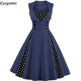 Vestido vintage 4xl on-line-Plus size 4xl mulheres retro do vintage dress 50 s 60 s sem mangas polka dot party dress elegante patchwork vermelho a line dress casual