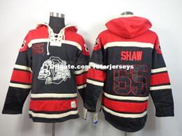 Sudadera de encaje de hockey online-Factory Outlet, 2014 blackhawks cosidos baratos # 65 ANDREW SHAW Lace Up Pullover Sudaderas de hockey sobre hielo para hombre / Sudaderas con capucha