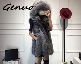 Жилет средней длины онлайн-2019 New fur vest imitation silver  fur coat hooded vest vertical stripe medium-long large size women faux coat