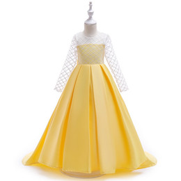 material de la manga del vestido Rebajas Mama Vestido largo Princesa Vestidos con mangas largas En material de encaje transparente Longitud del piso Falda Ropa de niño