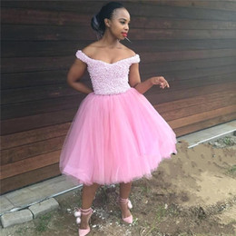 d20ab494cce58 Romantic Pink Pearls African Prom Evening Dresses For Black Girls Tea Length  A line Off shoulder Tulle Homecoming Party Dress Cheap