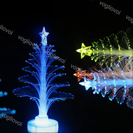 2021 небольшой свадебный декор Christmas Tree Home Table Party Decor Charm Small Night Light LED Fiber Optic Christmas Trees Colorful Christmas Decoration EPACKET