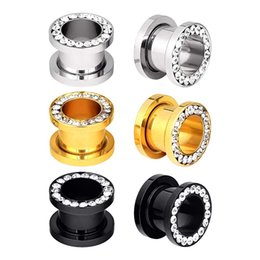 Fashion Punk Edelstahl Schwarz Silber Rosegold Klarer Kristall Edelsteine ​​Double Flared Screw Back Ear Tunnel Gauges Expander Ear Plug Piercing von Fabrikanten