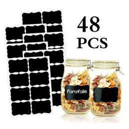 artisanat de feuille à la main Promotion 48pcs épices autocollants amovible cuisine étiquettes autocollants tableau noir autocollant bonbons confiture pots organisateur étiquette ardoise tableau de craie autocollant