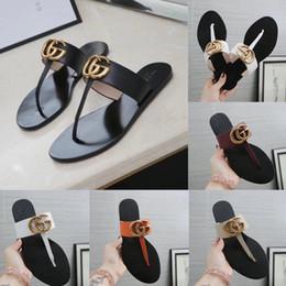 Deutschland Neue Leder Tanga Sandale Frauen Sandalen Flip Flops Weibliche Hausschuhe Luxus Designer Sandalen Thongs Frau Mit Box Versorgung