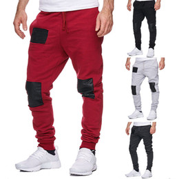 98d0c4176fd Cool Mens Sports Casual Pants Slim Fit Jogger Running Gym Bodybuilding Track  Trousers Sweatpants Gray Black Red Patch Pants
