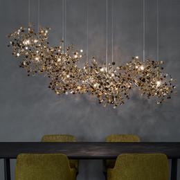 2019 ferro lustre de cristal rústico lâmpada Terzani Argent Candelabro Iluminação Hand-Made do aço inoxidável Folha Chandelier Villa suspenion iluminação / luzes de suspensão 110V 220V
