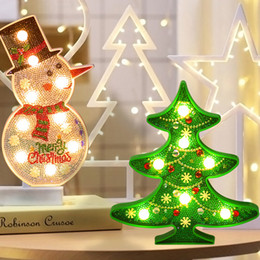 diamond sticker painting Coupons - DIY Diamond Painting Led Light ChristmasTree Snowman Night Light Sticker Creative Table Lamp Diamond