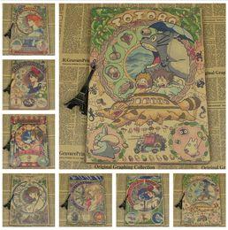 Cartazes de crianças vintage on-line-Vintage Paper Retro anime cartaz 42 * 30 cm Hayao Miyazaki Cartazes cudi cartaz adesivos de parede para quartos de crianças