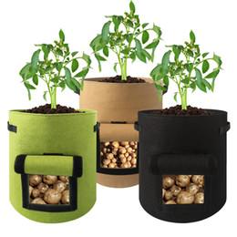 садовые контейнеры для растений Скидка Нетканый мешок для выращивания картофеля Многоразовый мешок для детской ткани Ткань для рассады Контейнер для посадки на открытом воздухе Принадлежности для выращивания сада 20 штук DHL