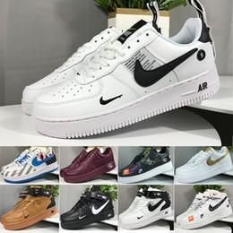 2019 color de la fuerza aérea unos nike air force 1 one CORK For MenWomen High Quality One 1 zapatos casuales Low Cut All White Color Negro Zapatillas de deporte casuales Tamaño US 5.5-12 color de la fuerza aérea unos baratos